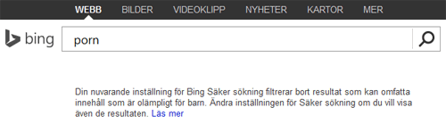 Bing strikt skärmdump