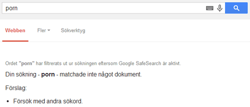 Skrämdump Google SafeSearch