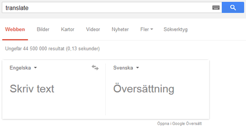 Google translate skärmdump